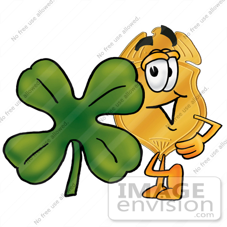 #22488 Clip art Graphic of a Gold Law Enforcement Police Badge Cartoon Character With a Green Four Leaf Clover on St Paddy's or St Patricks Day by toons4biz