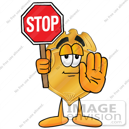 #22489 Clip art Graphic of a Gold Law Enforcement Police Badge Cartoon Character Holding a Stop Sign by toons4biz