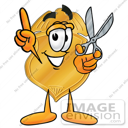 #22492 Clip art Graphic of a Gold Law Enforcement Police Badge Cartoon Character Holding a Pair of Scissors by toons4biz
