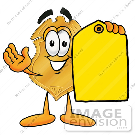 #22508 Clip art Graphic of a Gold Law Enforcement Police Badge Cartoon Character Holding a Yellow Sales Price Tag by toons4biz