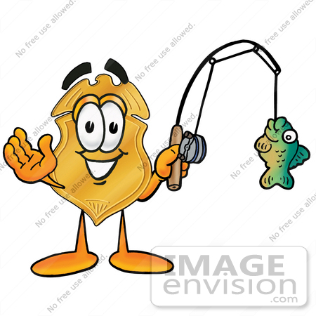 #22521 Clip art Graphic of a Gold Law Enforcement Police Badge Cartoon Character Holding a Fish on a Fishing Pole by toons4biz