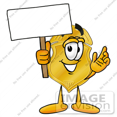 #22522 Clip art Graphic of a Gold Law Enforcement Police Badge Cartoon Character Holding a Blank Sign by toons4biz