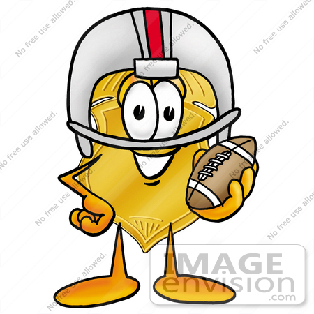 #22530 Clip art Graphic of a Gold Law Enforcement Police Badge Cartoon Character in a Helmet, Holding a Football by toons4biz
