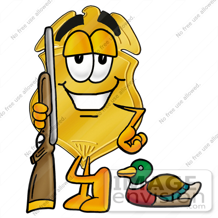 #22534 Clip art Graphic of a Gold Law Enforcement Police Badge Cartoon Character Duck Hunting, Standing With a Rifle and Duck by toons4biz