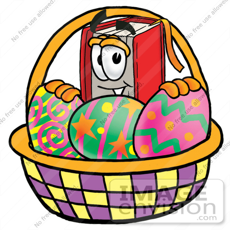 Clip art graphic of a book cartoon character in an easter basket 22549 clip art graphic of a book cartoon character in an easter basket full of negle Images