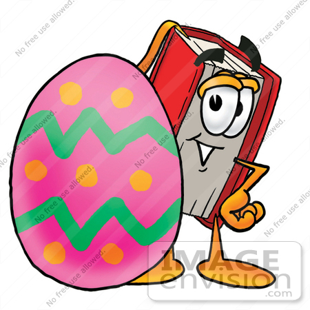 #22553 Clip Art Graphic of a Book Cartoon Character Standing Beside an Easter Egg by toons4biz
