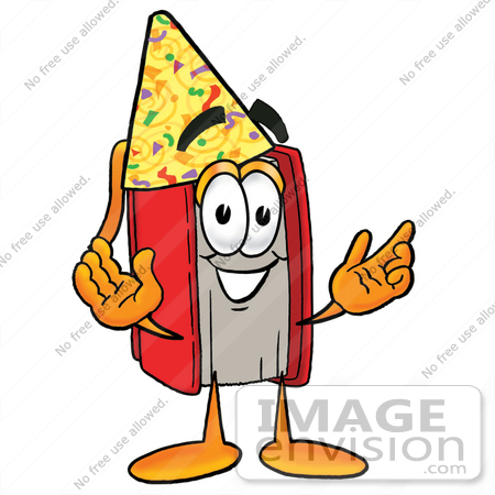 #22557 Clip Art Graphic of a Book Cartoon Character Wearing a Birthday Party Hat by toons4biz