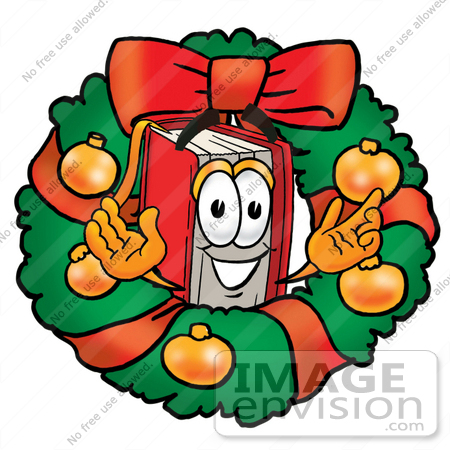 #22562 Clip Art Graphic of a Book Cartoon Character in the Center of a Christmas Wreath by toons4biz
