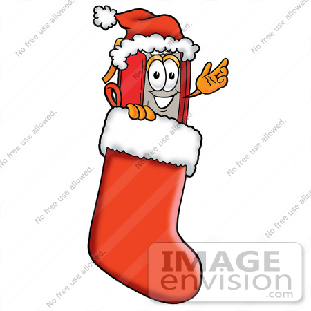 #22564 Clip Art Graphic of a Book Cartoon Character Wearing a Santa Hat Inside a Red Christmas Stocking by toons4biz