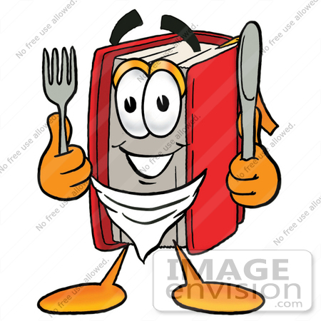 #22568 Clip Art Graphic of a Book Cartoon Character Holding a Knife and Fork by toons4biz
