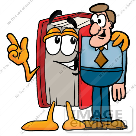 clip art graphic of a book cartoon character talking to a business rh imageenvision com