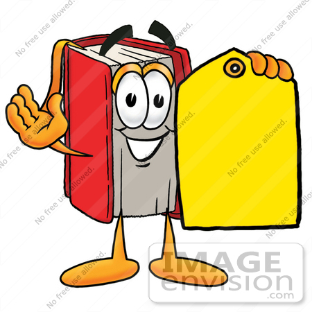 #22577 Clip Art Graphic of a Book Cartoon Character Holding a Yellow Sales Price Tag by toons4biz