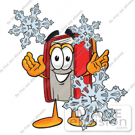 #22580 Clip Art Graphic of a Book Cartoon Character With Three Snowflakes in Winter by toons4biz