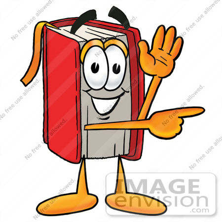 22586 Clip Art Graphic Of A Book Cartoon Character Waving And Pointing By Toons4biz