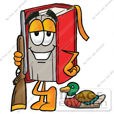 Clip art graphic of a book cartoon character duck hunting standing
