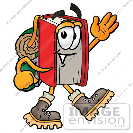 #22590 Clip Art Graphic of a Book Cartoon Character Hiking and Carrying a Backpack by toons4biz