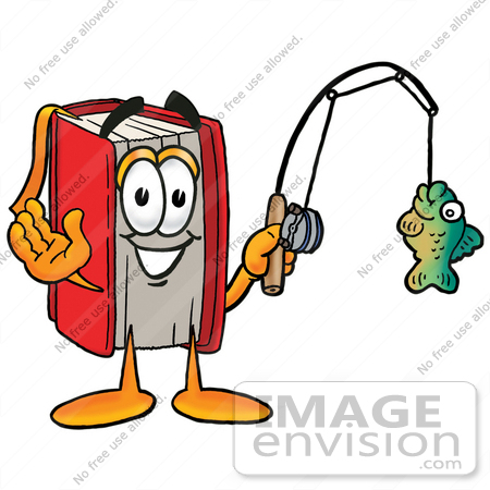 #22604 Clip Art Graphic of a Book Cartoon Character Holding a Fish on a Fishing Pole by toons4biz
