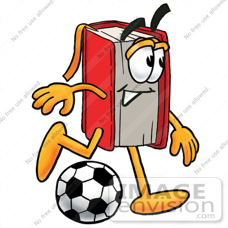 #22607 Clip Art Graphic of a Book Cartoon Character Kicking a Soccer Ball by toons4biz
