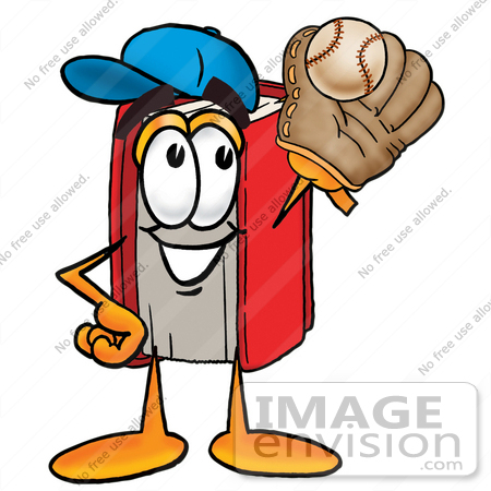 #22610 Clip Art Graphic of a Book Cartoon Character Catching a Baseball With a Glove by toons4biz