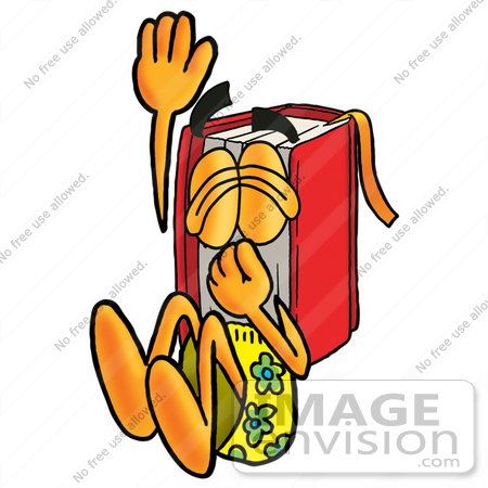 #22613 Clip Art Graphic of a Book Cartoon Character Plugging His Nose While Jumping Into Water by toons4biz