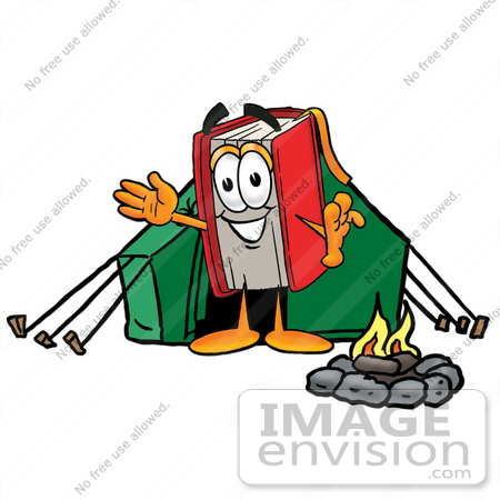 Clip art graphic of a book cartoon character camping with a tent and
