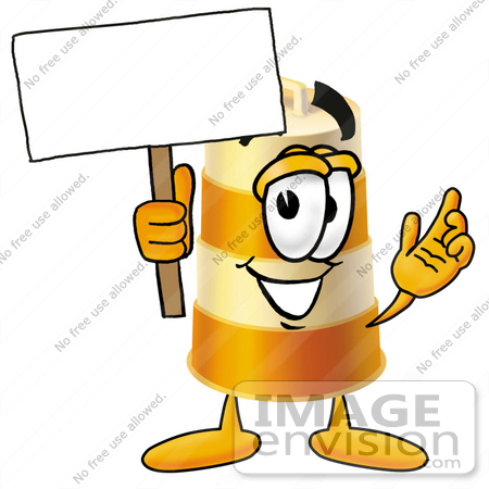 #22620 Clip art Graphic of a Construction Road Safety Barrel Cartoon Character Holding a Blank Sign by toons4biz