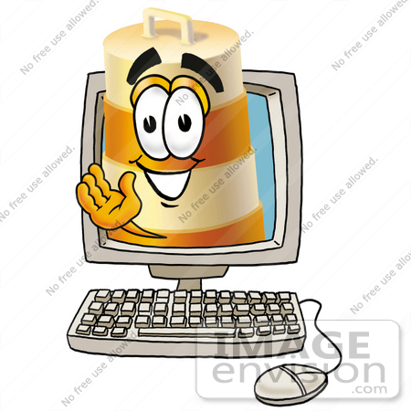 #22624 Clip art Graphic of a Construction Road Safety Barrel Cartoon Character Waving From Inside a Computer Screen by toons4biz