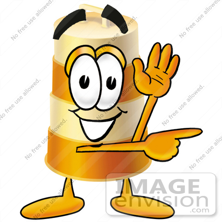 #22628 Clip art Graphic of a Construction Road Safety Barrel Cartoon Character Waving and Pointing by toons4biz