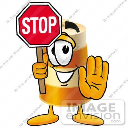#22640 Clip art Graphic of a Construction Road Safety Barrel Cartoon Character Holding a Stop Sign by toons4biz