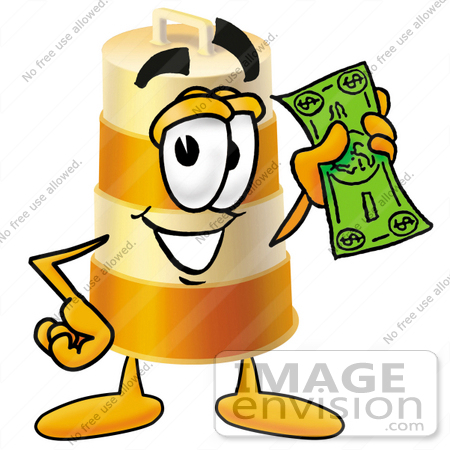 #22643 Clip art Graphic of a Construction Road Safety Barrel Cartoon Character Holding a Dollar Bill by toons4biz