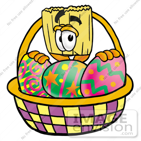 #22696 Clip Art Graphic of a Straw Broom Cartoon Character in an Easter Basket Full of Decorated Easter Eggs by toons4biz