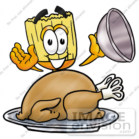 #22697 Clip Art Graphic of a Straw Broom Cartoon Character Serving a Thanksgiving Turkey on a Platter by toons4biz