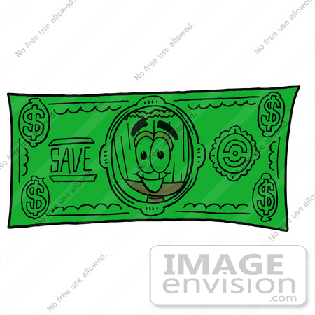#22699 Clip Art Graphic of a Straw Broom Cartoon Character on a Dollar Bill by toons4biz