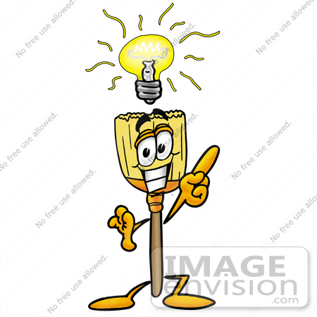 #22700 Clip Art Graphic of a Straw Broom Cartoon Character With a Bright Idea by toons4biz
