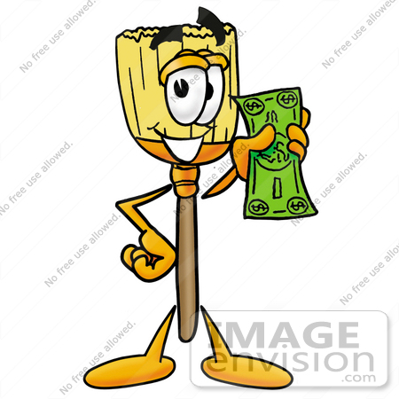 #22704 Clip Art Graphic of a Straw Broom Cartoon Character Holding a Dollar Bill by toons4biz
