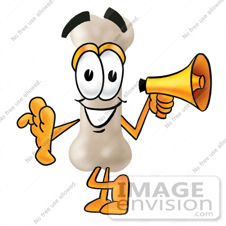 #22710 Clip art Graphic of a Bone Cartoon Character Holding a Megaphone by toons4biz