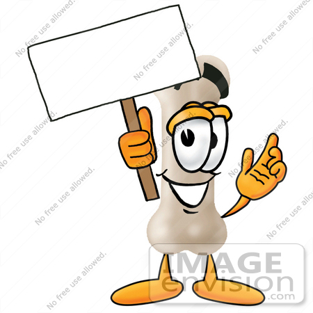 #22721 Clip art Graphic of a Bone Cartoon Character Holding a Blank Sign by toons4biz