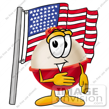 #22752 Clip art Graphic of a Fishing Bobber Cartoon Character Pledging Allegiance to an American Flag by toons4biz