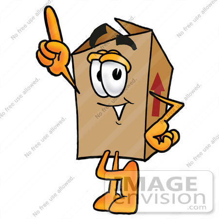 Clip Art Graphic of a Cardboard Shipping Box Cartoon Character ...