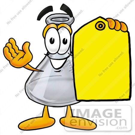 #22816 Clip art Graphic of a Laboratory Flask Beaker Cartoon Character Holding a Yellow Sales Price Tag by toons4biz