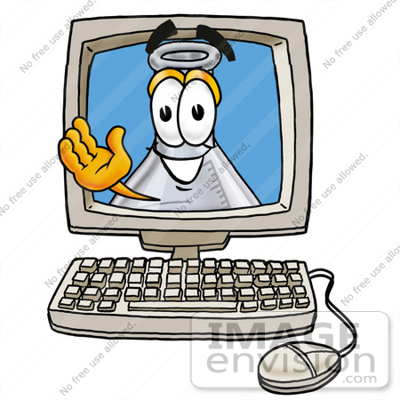 #22828 Clip art Graphic of a Laboratory Flask Beaker Cartoon Character Waving From Inside a Computer Screen by toons4biz