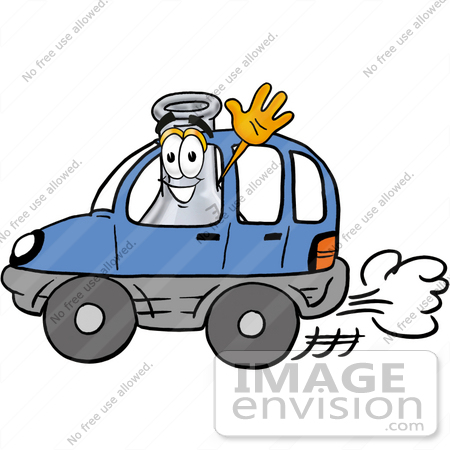 #22833 Clip art Graphic of a Laboratory Flask Beaker Cartoon Character Driving a Blue Car and Waving by toons4biz