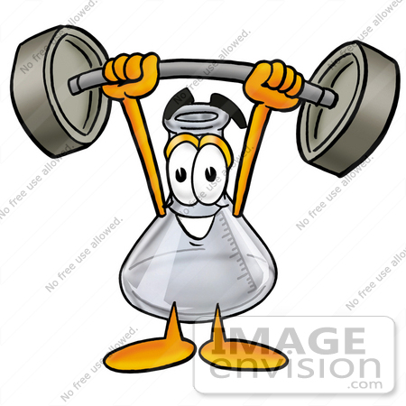 #22834 Clip art Graphic of a Laboratory Flask Beaker Cartoon Character Holding a Heavy Barbell Above His Head by toons4biz