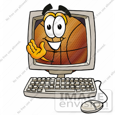 #22840 Clip art Graphic of a Basketball Cartoon Character Waving From Inside a Computer Screen by toons4biz