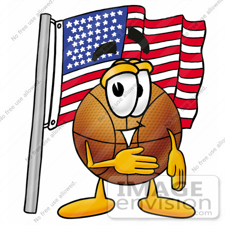 #22846 Clip art Graphic of a Basketball Cartoon Character Pledging Allegiance to an American Flag by toons4biz