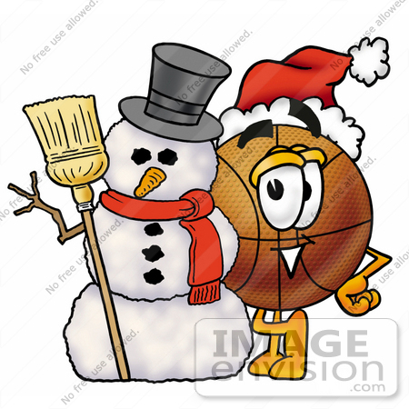 #22854 Clip art Graphic of a Basketball Cartoon Character With a Snowman on Christmas by toons4biz