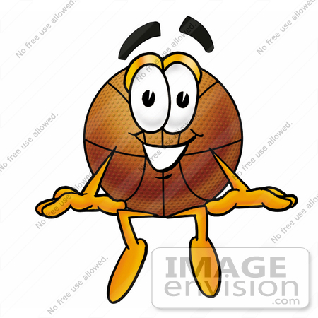 #22859 Clip art Graphic of a Basketball Cartoon Character Sitting by toons4biz