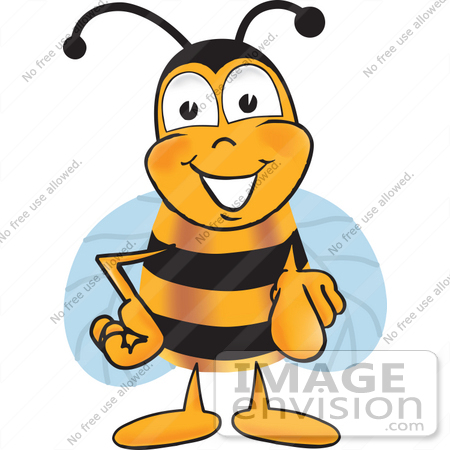 #22871 Clip art Graphic of a Honey Bee Cartoon Character Pointing at the Viewer by toons4biz