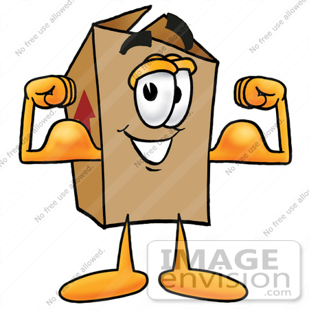 #22876 Clip Art Graphic of a Cardboard Shipping Box Cartoon Character Flexing His Arm Muscles by toons4biz