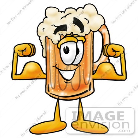 #22879 Clip art Graphic of a Frothy Mug of Beer or Soda Cartoon Character Flexing His Arm Muscles by toons4biz